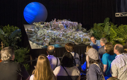 Disney Parks at D23 EXPO 2015 -- The Walt Disney Parks and Resorts show floor pavilion gives D23 EXPO 2015 guests an in-depth look at Pandora when they explore what's to come for the AVATAR project at Disney's Animal Kingdom at Walt Disney World Resort in Florida, with models, images, and exhibits on display. (Paul Hiffmeyer/Disney Parks)