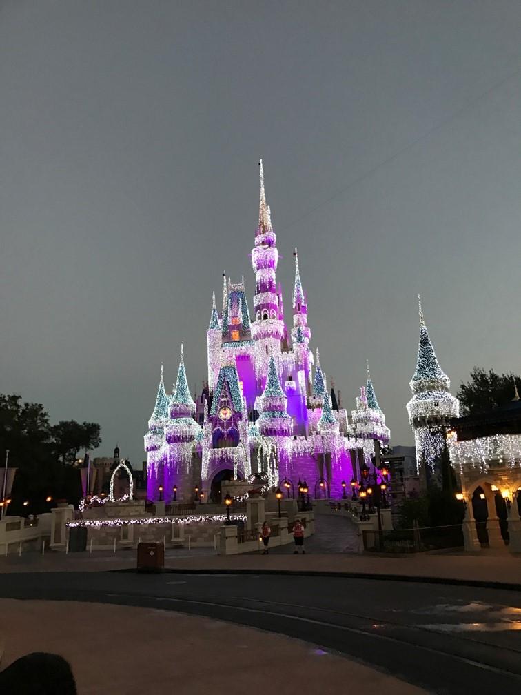 Cinderella Castle Christmas Lights.Cinderella Castle Christmas Morning With Lights Wdw Daily News